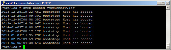 vmksummary host boot information