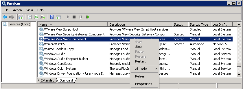 Restart VMware View Web Component