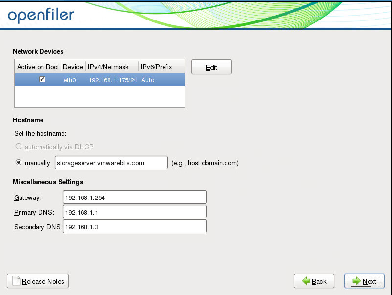 How to change ip address on openfiler command line