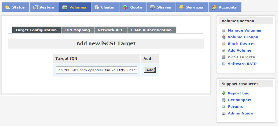 Openfiler add iscsi target
