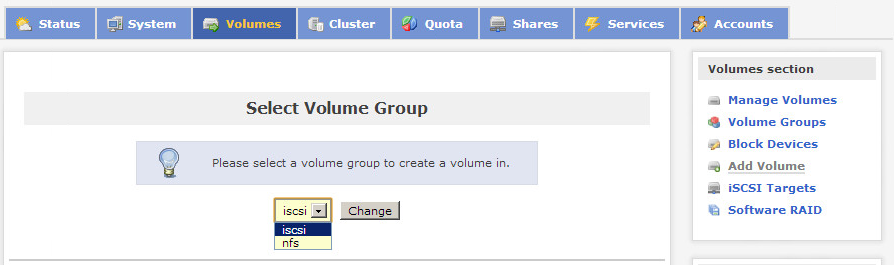 Openfiler select volume group