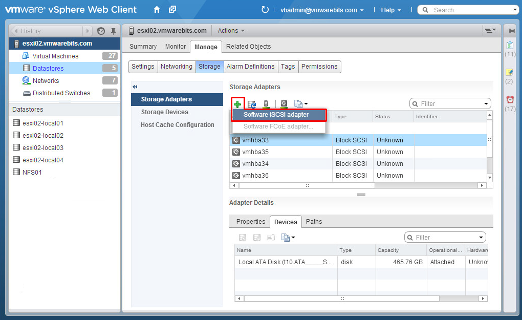 Openfiler add iSCSI software adapter to ESXi in vSphere Web Client
