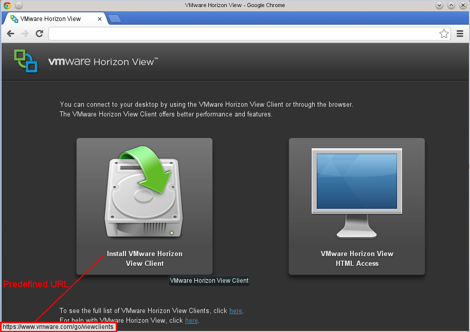 Horizon View Portal 5.2 default web page