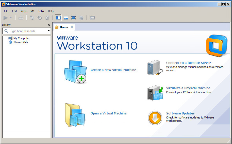 VMware Workstation home page