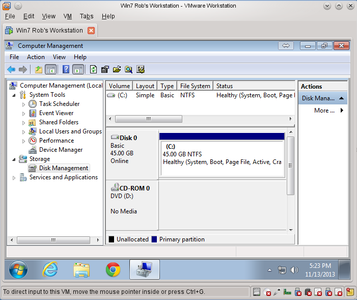 Windows 7 VM with 45 GB disk