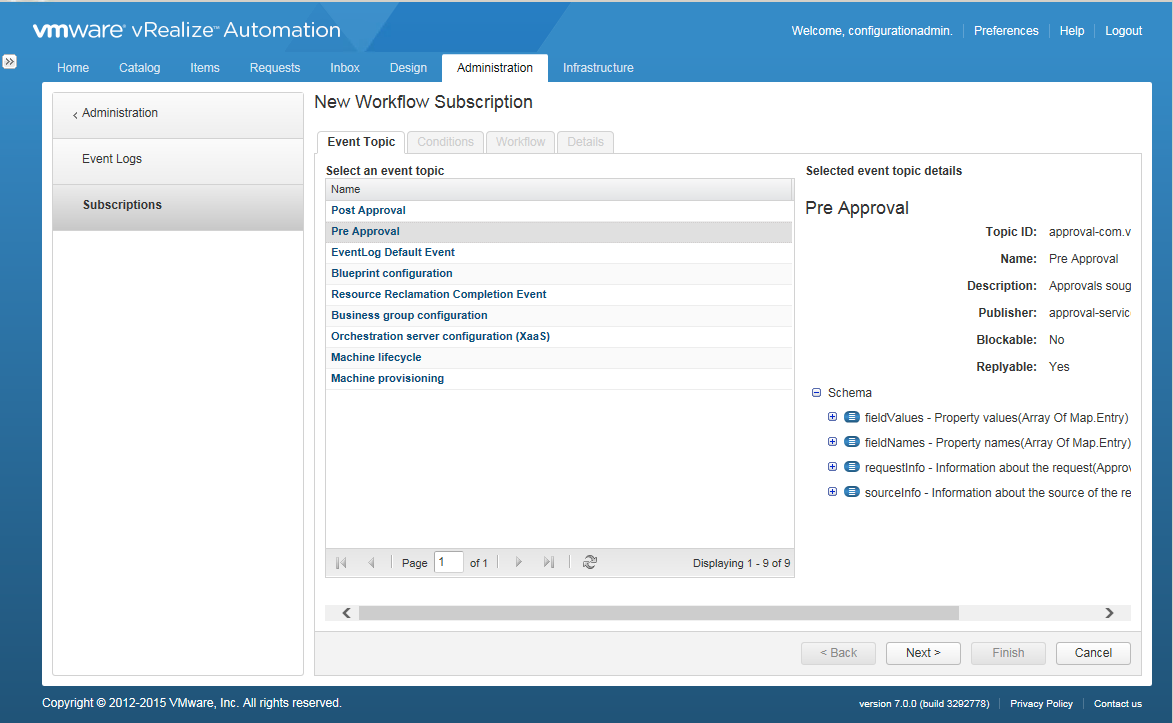vRealize Automation External Approval Policy