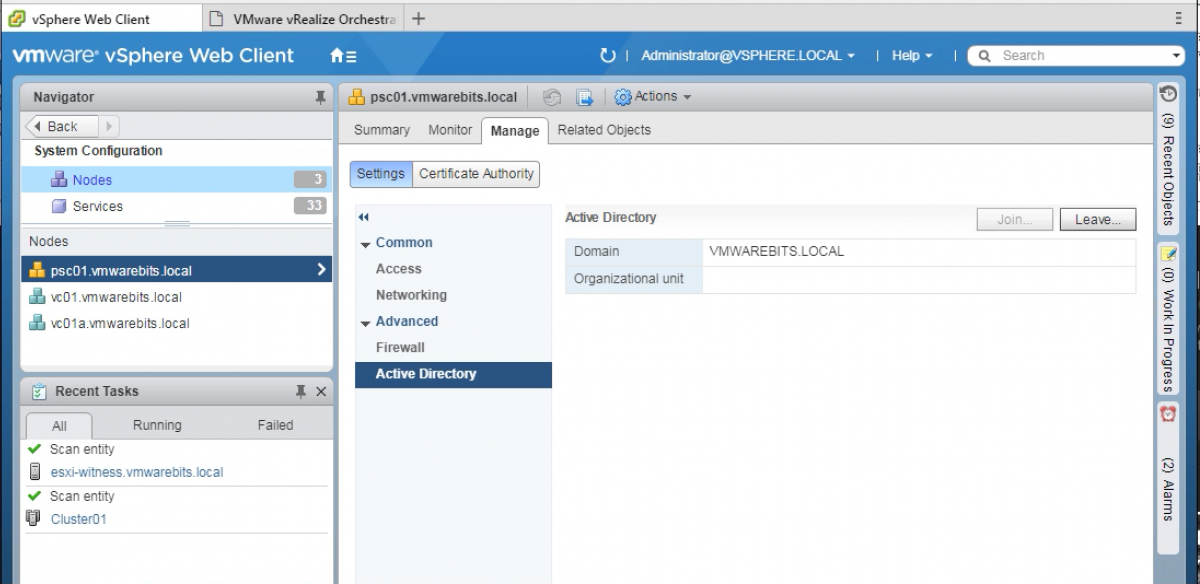 Adding Platform Services Controller to Active Directory Domain