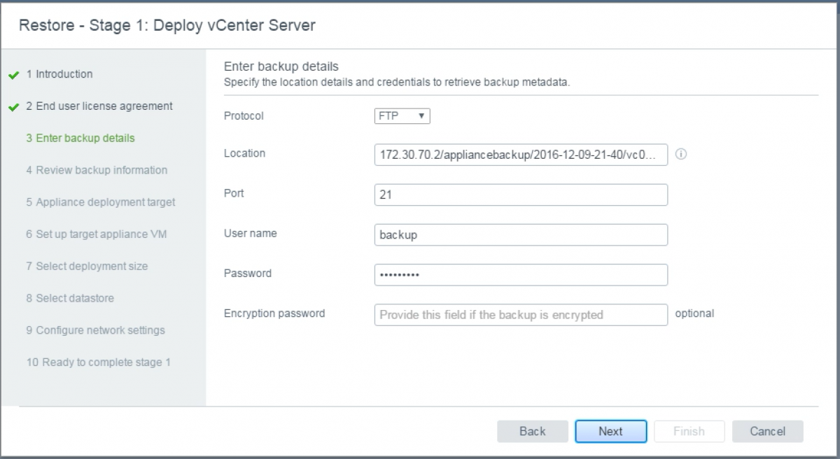 vCenter 6.5 Appliance restore