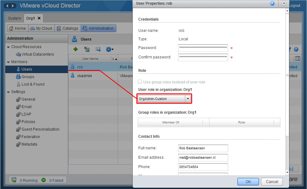 Removing user-management for a vCloud Organization