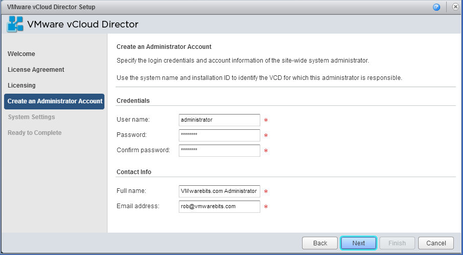 vCloud Director provide administrator account details