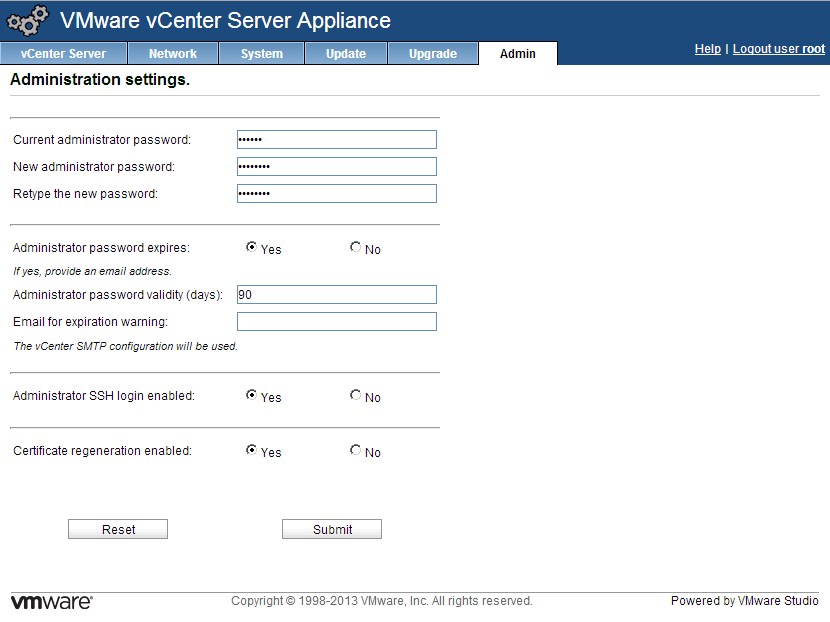 vCenter appliance administration settings