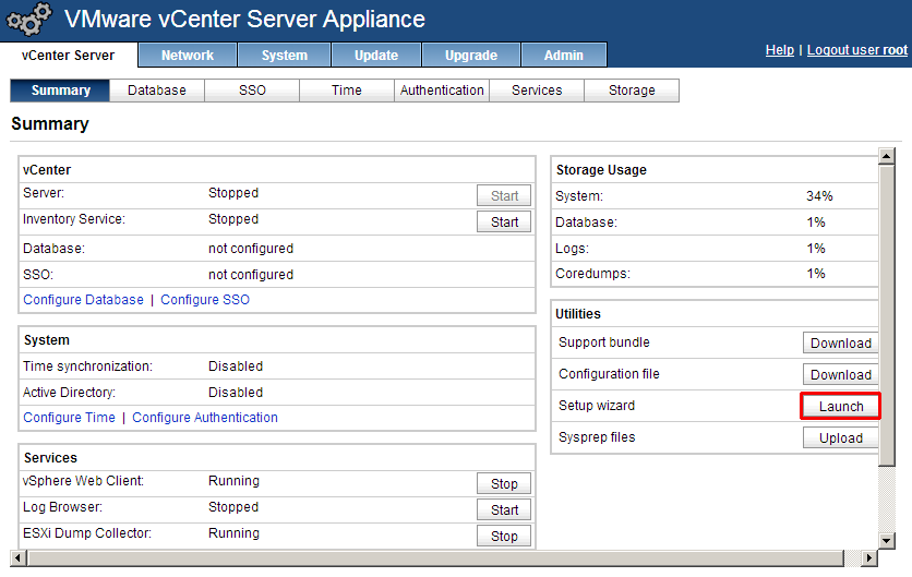 vCenter appliance setup wizard