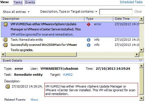 Update Manager and vCenter server can not be upgraded with update manager